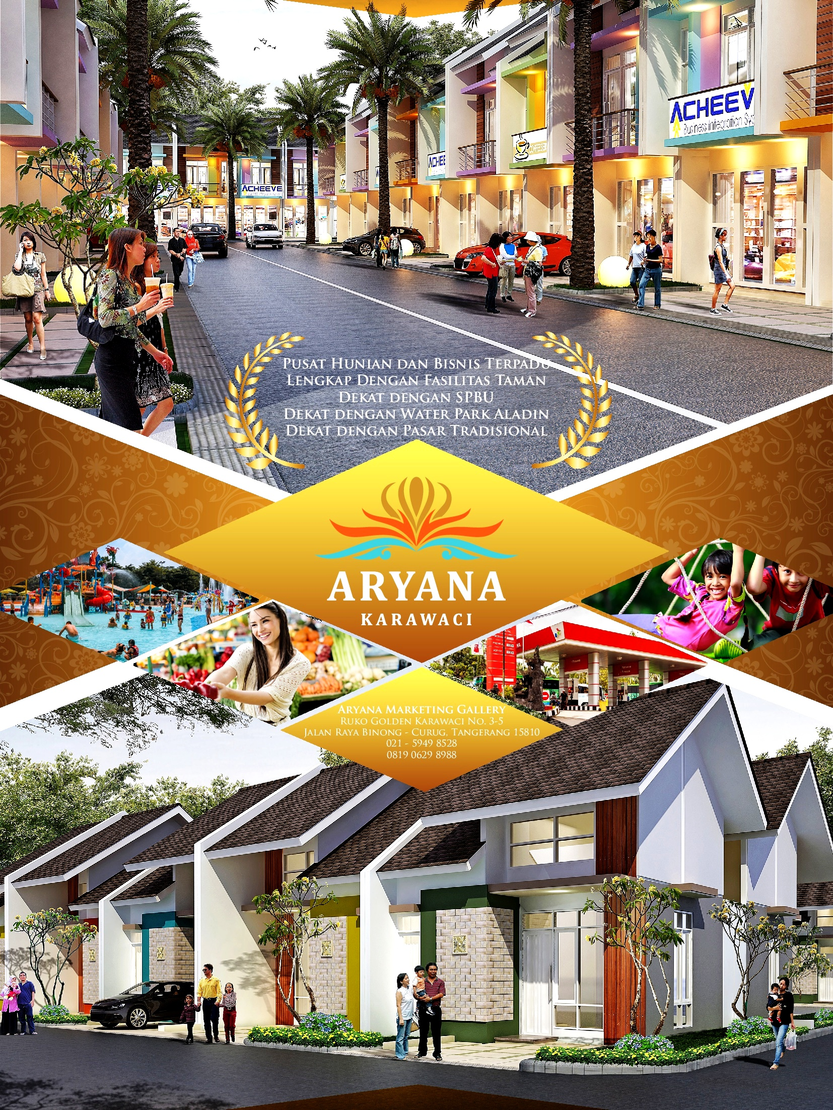 ARYANA KARAWACI rumah Tangerang. Jalan Raya Binong Sukabakti, Curug, Ruko Golden Karawaci no.3-5. Tangerang 15810 telpon (021) 59498528