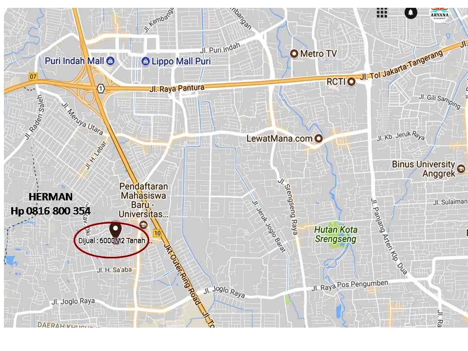 Peta lokasi tanah jalan Haji Juhri Meruya Selatan